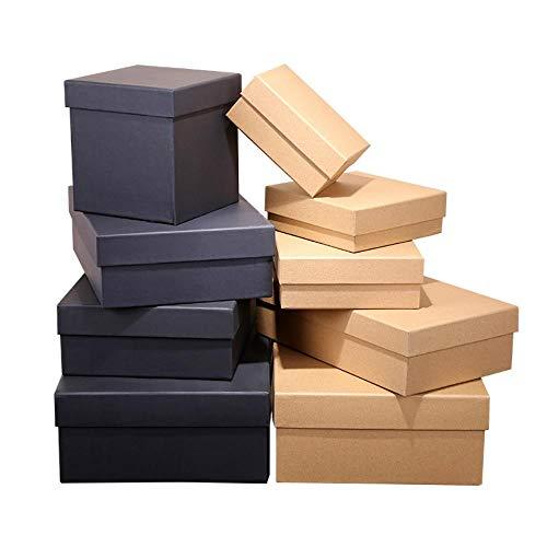 Xinger kraftpapier doos met deksels vierkante bruine oorbel ring sieraden doos karton zwart ambachtelijke Valentijnsdag geschenkverpakking, zwart, 11x11x11cm