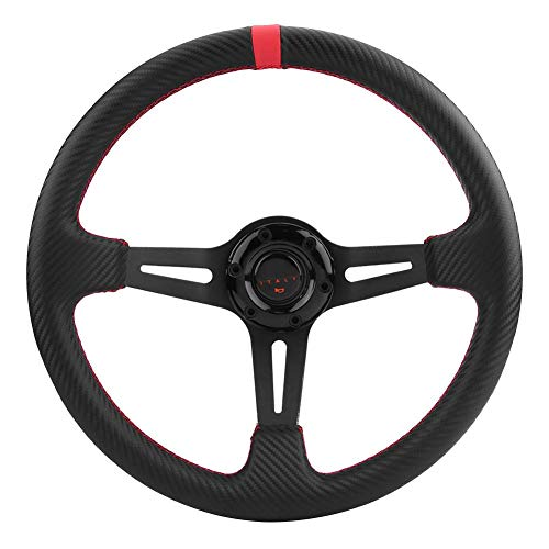 Cuque Racing Steering Wheel 350mm 14 inch Superior Carbon Fiber Auto Car Steering Wheel Universal for Racing Car(Red)