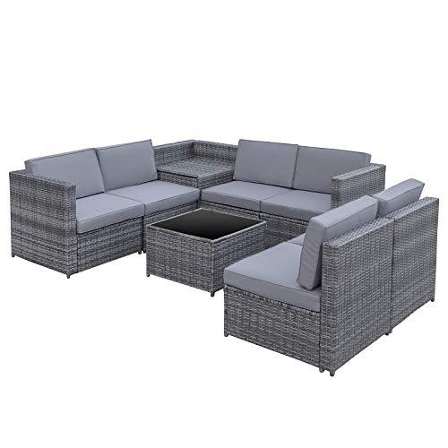 Outsunny 8-TLG. Polyrattan Gartengarnitur Gartenmöbel Garten-Set Sitzgruppe Loungeset Loungemöbel Beistelltisch als Aufbewahrungskorb Grau Stahl + Polyester 58 x 58 x 37 cm