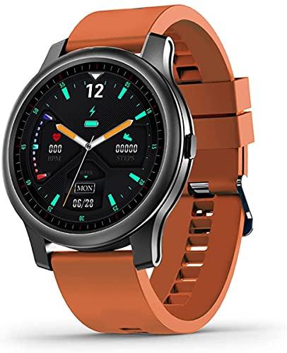 Reloj inteligente con presión arterial alta y frecuencia cardíaca rastreador de actividad física con monitor de sueño pulsera deportiva impermeable para hombres y mujeres iOS Android (naranja)