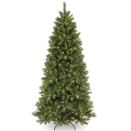 National Tree Company Pre-lit Artificial Christmas Tree | Includes Pre-strung Multi-Color LED Lights and Stand | Lehigh Valley Pine Slim - 7.5 ft