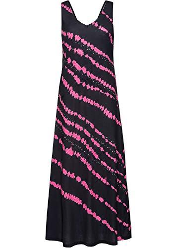 bonprix Tief ausgeschnittenes Maxikleid mit Batik-Druck und Schmucksteinverzierung schwarz/pink Bedruckt 44/46 für Damen
