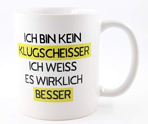 PICSonPAPER Tasse mit mit Spruch Ich Bin kein Klugscheisser, ich Weiss es wirklich Besser, Geschenk, Kaffeetasse, Keramiktasse, Tasse mit Grafik, Tasse mit Spruch, lustige Tasse (Klugscheisser)