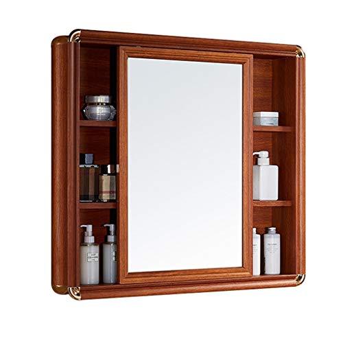 Armoires avec miroir Armoire de Toilette Miroir Coulissant Mural avec étagère Miroir de courtoisie Mural Armoire à Pharmacie Miroirs de Salle de Bain (Color : Brown, Size : 100 * 12 * 73cm)