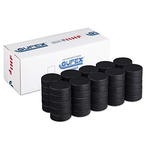 Gufex Official IIHF Hockey Puck 50-Pack - Eishockey Spielpucks - Dieser Puck Wird bei den Olympischen Spielen und in der WM Verwendet