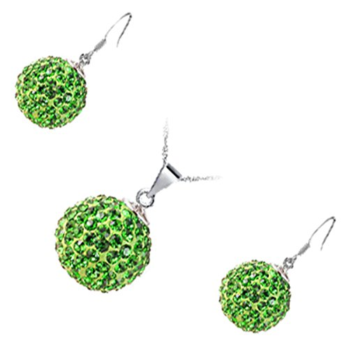 GWG Jewellery Juego de Joyas Mujer Regalo Conjunto Collar y Pendientes, Bañado en Plata de Ley Bola Embellecida con Cristales Brillantes de Color Esmeralda Verde para Mujeres