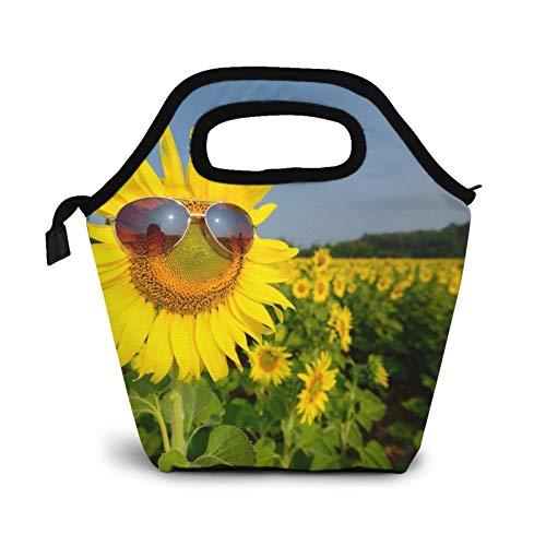 Gafas de sol girasoles plantación campo, pequeñas bolsas de almuerzo para mujeres niños impermeable aislada lonchera para el trabajo escuela