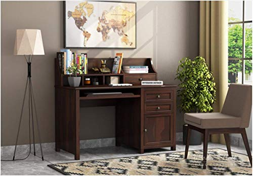 Home furniture Wooden Study Table for Home and Office | Desk | Solid Sheesham Wood | Desk | Study Desk | Writing Table | Computer Table | Desktop Table | Walnut Finish
