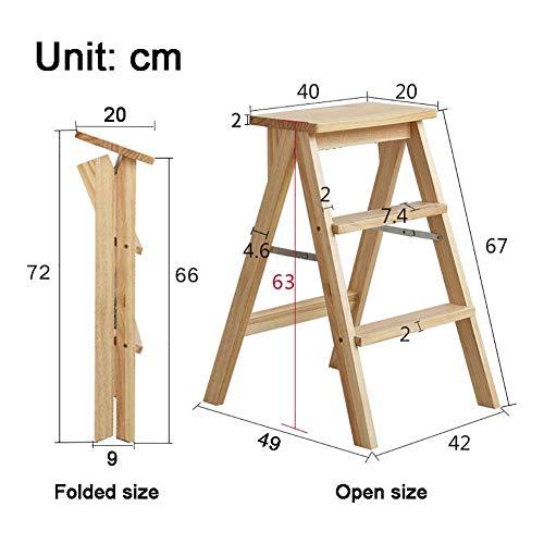 Ladder huishoudtrapladder voor volwassenen, 3 treden voor keuken, slaapkamer, badkamer, 2-in-1 witte houten bank, 42   × 49 × 63 cm D