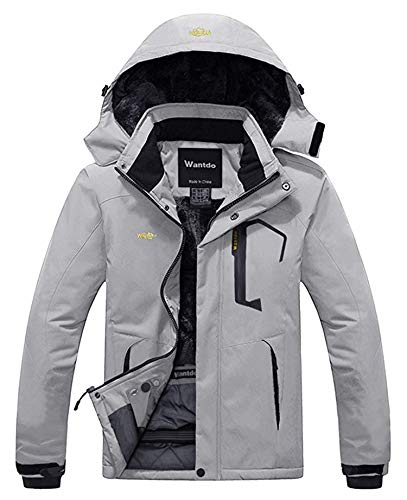Wantdo Men's Cold Winter Waterproof Ski Jacket Windbreaker Parka Coat Grey L