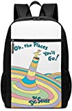 TTmom Mochilas Tipo Casual,Bolsa de Viaje Oh The Places You'Ll Go Backpack Laptop Backpack School Bag Travel Backpack 17 Inch