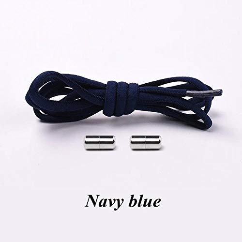 SELLM Sin Corbata Cordones Redondos Cordones elásticos para Zapatillas de Deporte para ni?os y Adultos Cordones para Zapatos Cordones Flojos rápidos 21 Cordones de Color, Azul Marino
