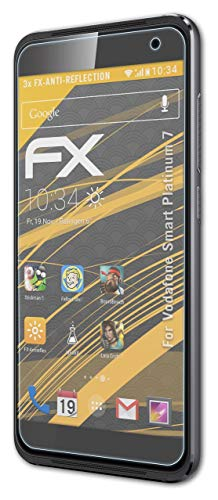 atFolix Panzerfolie kompatibel mit Vodafone Smart Platinum 7 Schutzfolie, entspiegelnde & stoßdämpfende FX Folie (3X)