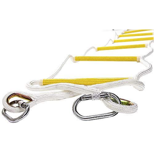 ISOP Escalera de Cuerda de 2,5 m para trepar a la casa del árbol - Exterior/Interior - Viene con mosquetones