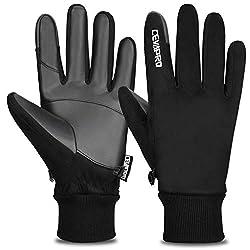 Cevapro Winterhandschuhe Herren wasserdichte Fahrradhandschuhe Winddichte Warme Touchscreen Handschuhe zum Wintersport wie Radfahren Laufen Wandern (S, Schwarz)