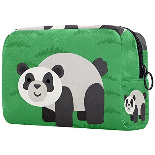 Damen Make-up Tasche,Kosmetische Aufbewahrungstasche Grüner Pandan für Reisen, Kosmetik-Organisator