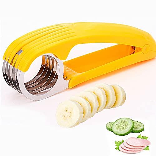 Xiaomin Cortador de plátano, ABS + acero inoxidable para frutas y verduras, herramienta de cocina para plátano, salchicha, fresa, uva, pepino y jamón, apto para lavavajillas
