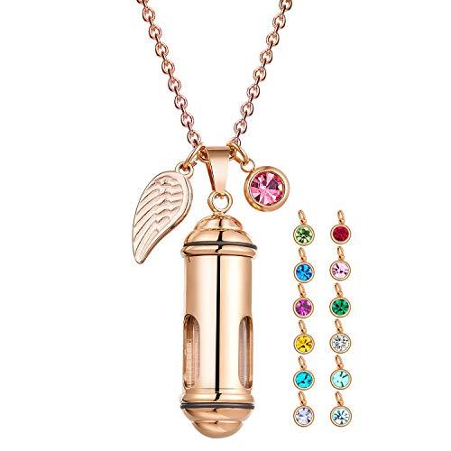 Sunling Clear Glass Cylinder Memorial Urn Pendant Tube Vial Cremation Ash Keepsake Necklace