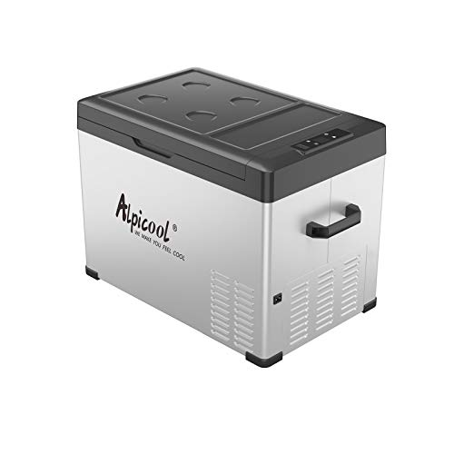 Alpicool C40 Portable Refrigerator 12 Volt Car Freezer 42 Quart(40 Liter) Vehicle,Truck, RV, Boat, Compact Freezer for Travel, Outdoor -12/24V DC and 110-240V AC (Black and Silver)