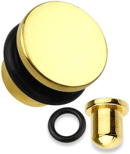 WildKlass Jewelry Gold Flat Top Titanium 8G (3.2mm) Single Flare PlugSold as Pairs