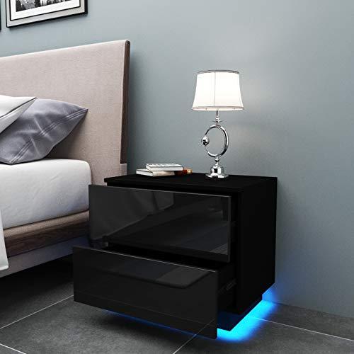 YOLEO Table de Chevet avec l'éclairage LED, Meuble de Rangement Table, Table de Chevet à 2 tiroirs de Style Moderne - (55 x 50 x 37cm) (Noir Brillant)