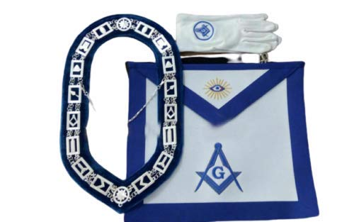 Blue Lodge Chain Collar, Master Mason Apron with Square and Compass Gloves Set