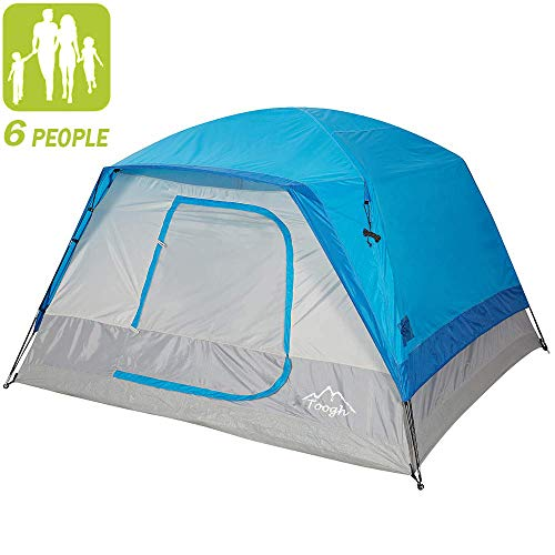 Toogh 10' x 9' 6 Person Camping Big Horn Tent Waterproof Backpacking Double Layer Tents for Outdoor Sports -Center Height 74in [Blue] Provide Top Rainfly, Advanced Venting Design