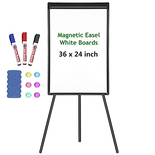 White Board Easel Stand Magnetic Whiteboard Flipchart Tripod Easel Height Adjustable Dry Erase Board with 1 Eraser, 3 Markers, 6 Magnets, 36x24 Inch (Black)