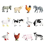 FLORMOON 12 Piezas pequeñas Figuras de Animales de Aves de Corral Realistic Juguete Animal Animal Figure Early Educational Toys Science Project Christmas Birthday Gift for Kids