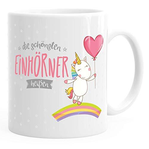 personalisierte Kaffee-Tasse die schönsten Einhörner heißen Wunschname individualisierbare Einhorn-Tasse mit eigenem Namen Unicorn Geschenk-Tasse MoonWorks® weiß unisize
