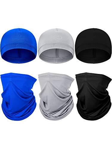6 Pieces Summer UV Protection Neck Gaiter Helmet Liner Skull Caps Face Neck Scarf Sweat Wicking Cycling Cap for Men Women Sports (Black, Dark Blue, Grey)