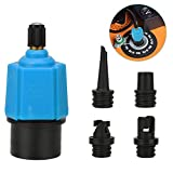 QKURT Inflatable SUP Pump Adaptor Air Pump Converter, Multifunction Sup Valve Adapter with 4 Air Valve Nozzles for Inflatable Boat, Stand Up Paddle Board, Inflatable Bed, Surf Paddle Board, Etc