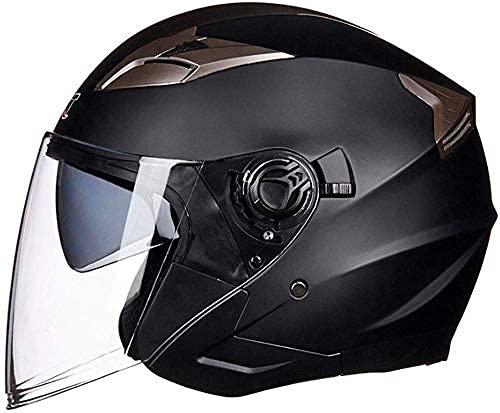 LAMZH Casco de motocicleta eléctrico portátil para hombres y mujeres, cuatro estaciones universal con doble lente de doble cara, subnegro, mediano, protección