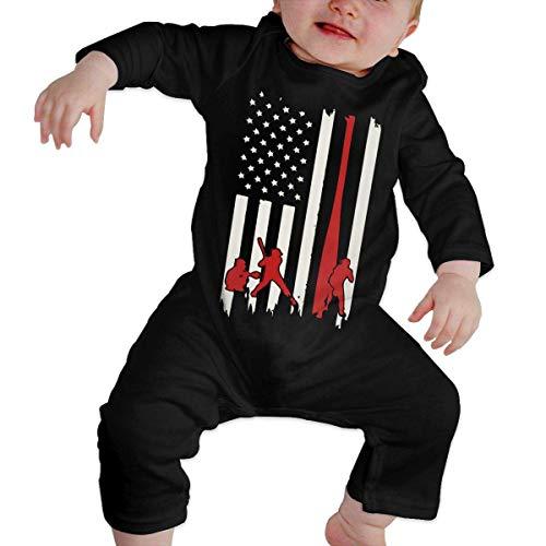 SDLZIJFGHBC Baseball Bat American Flag Baby Boy Long Sleeve Romper Jumpsuit Organic Coverall 18M