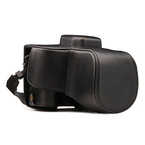MegaGear Canon EOS Rebel SL2, EOS 200D, Kiss X9 18-55mm Lentille Ever Ready Custodia in ecopelle per Fotocamera con Tracolla - Nero - MG1303