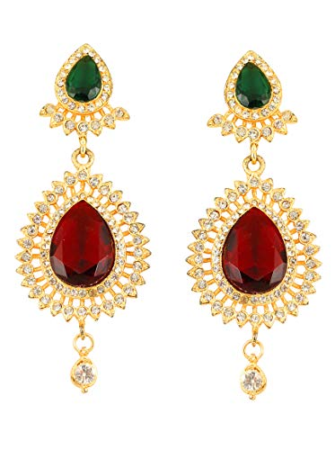 Touchstone Indian Bollywood Desire Very Stunning Grain Work Hand Embellished Rhinestone Faux Ruby Emerald Designer Jewelry Long Earrings In Gold Tone For Women.