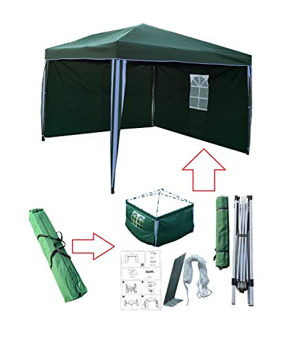 Tuinpaviljoen 3x3 Groen, Vouwpaviljoen, Gazebo, Pop-up Eendelig Geïntegreerd Stalen Frame + 180 g/m2 Polyester Dak, voor Buiten (Paviljoen + 2 Zijwanden)