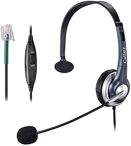 Auriculares telefónicos con cable con micrófono con cancelación de ruido, teléfono mono de línea fija para Gigaset Plantronics Office IP teléfonos