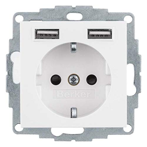 Berker Steckdose SCHUKO/USB 48038989 S.1, polarweiß gl. S.1 Steckdose 4011334510611