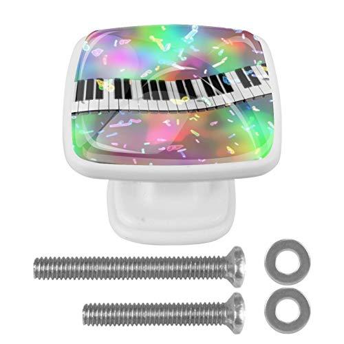 [4 unidades] coloridos pomos de cristal para armario de armario, cajón, tiradores para puerta, llaves de piano