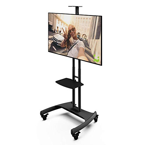 Kanto MTM65PL Height Adjustable Mobile TV Stand with Adjustable Shelf for 37inch to 65inch TVs | Supports up to 80 lb Total | Integrated Cable Management |