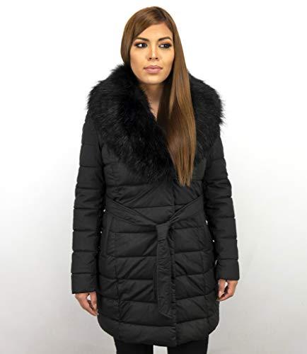 Lange Parka Dames Winterjas - Met Zwarte Bontkraag - Zwart