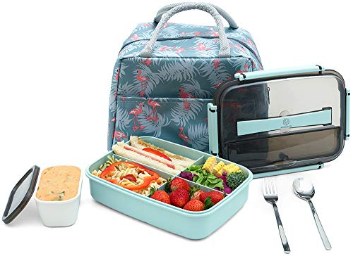 MINCOCO Bento Lunch Box Leak-proof Eco-Friendly Bento Box Food Storage Containers with Large Lunch Bag Sauce Jar Stainless Spoon&Fork for Adults Women Men Kids Mint Green