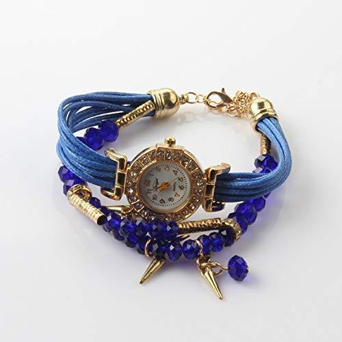 Exquisito, hermoso, decente, novedoso y único. Relojes Mujeres Colgante Braiding Pulsera Brazalete Reloj de cuarzo Mira Señoras Miradas Ladies Girls Casual Relojes decorativos ( Color : Dark Blue )