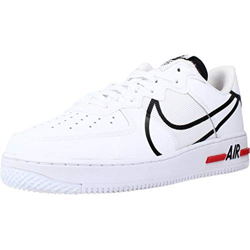 Nike Air Force 1 React, Chaussure de Basketball Homme, White/Black-University Red, 41 EU