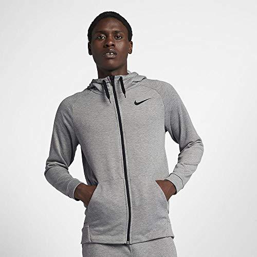 Nike Herren Dry Fleece Langarm Oberteil mit Kapuze Full-Zip, grau (Dark Grey Heather/Black), XL