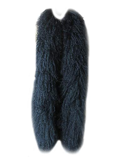 Real Mongolian Lamb Fur Scarf Wool Wraps Black Overlength Warm