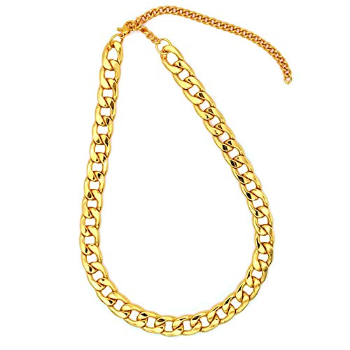 TUOKAY Direct Big Faux Gold Puppy Chain Dogs Fashion Fake Gold Costume Necklace Chain Dog Collar, 12mm, 15' with Adjustable Link Chain