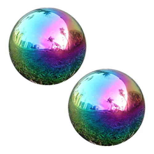 GDglobal Edelstahlkugeln, 2 Stück Gartenkugel in Regenbogen, Gazing Globe Balls Spiegelkugel für Garten und Hof (150mm x2)