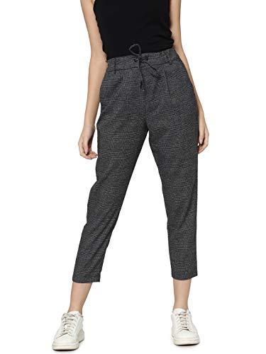 ONLY Damen Hose Onlpoptrash Soft Check Pant, Größe:S - L 30, Farbe:Black Cloud Dancer (15160890)